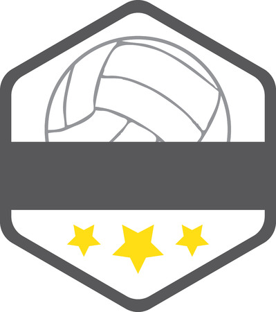 Badge with volleyball. Sports fans will love this game ball on a t-shirt.