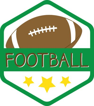pigskin: Badge with football. Sports fans will love this game ball on a t-shirt.