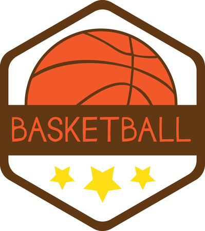 Badge with basketball. Sports fans will love this game ball on a t-shirt. Фото со стока - 42967814