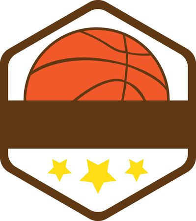 Badge with basketball. Sports fans will love this game ball on a t-shirt.