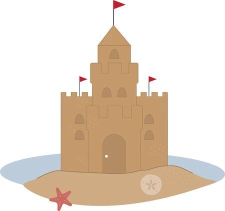 castle sand: Un castillo de arena bonito es perfecto para un proyecto de playa. Vectores