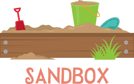shovel, sand and bucket in the sandbox