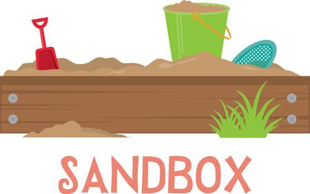 sandbox: shovel, sand and bucket in the sandbox