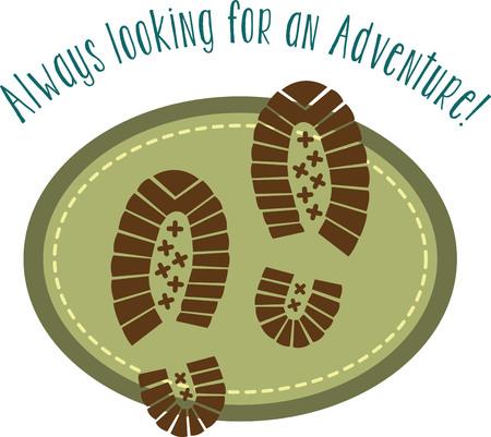 hiking trail: hiking design with shoe prints Illustration