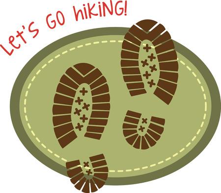 hiking trail: Hiking design with shoe prints