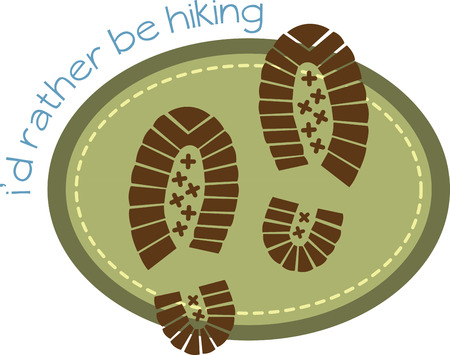rather: Hiking design with shoe prints
