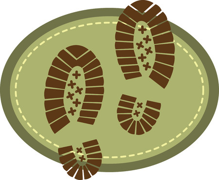 trek: Hiking design with shoe prints