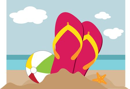 A pair of sandals with beautiful beach scene