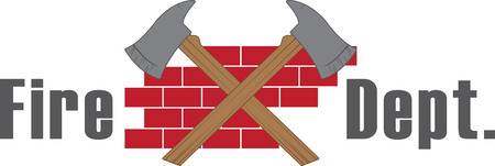 Design with axe and wall. A fireman will love this design on a shirt or hat.
