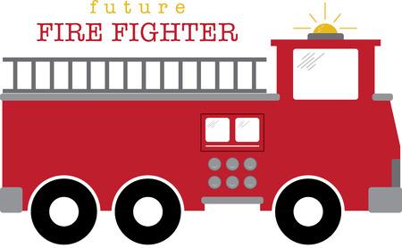 firetruck: Firetruck. A fireman will love this design on a shirt or hat. Illustration