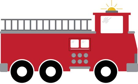 Firetruck. A fireman will love this design on a shirt or hat. Illustration