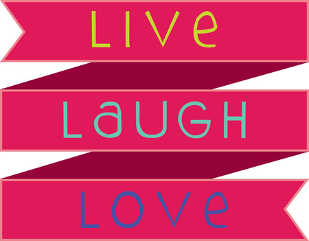 Text of Live Laugh Love on lovely decoration ribbon Иллюстрация