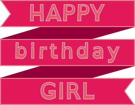 riband: Happy birthday girl on red ribbon Illustration