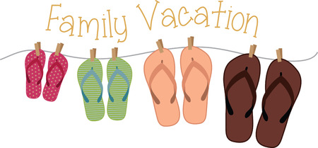 family vacation: hanging flip flops  Illustration