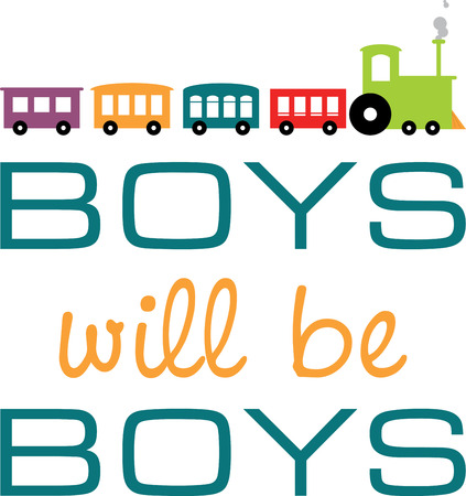 be: Text of Boys will be Boys with colourful trains