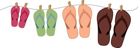 hanging colourful flip flops