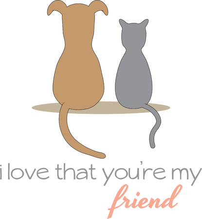 Who says a dog and cat can't be friends  Add this cute design to the place mat or to a hat to wear.