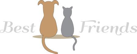 누가 개와 고양이가 친구가 될 수 없다고 말하는지이 귀여운 디자인을 장소 매트 나 모자를 착용하십시오.