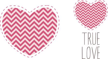 刺繍パターンによってこの美しいジグザグ中心部の形状を選択します。バレンタインの日に最適です。