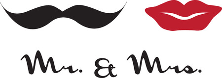 Tell the world you just got married! These cute Mr mustache and Mrs red lips couples shirts are perfect to wear for your honeymoon. Ilustração