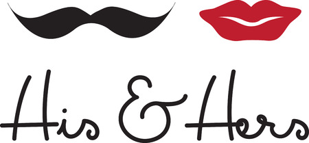 mrs: Tell the world you just got married! These cute Mr mustache and Mrs red lips couples shirts are perfect to wear for your honeymoon. Illustration