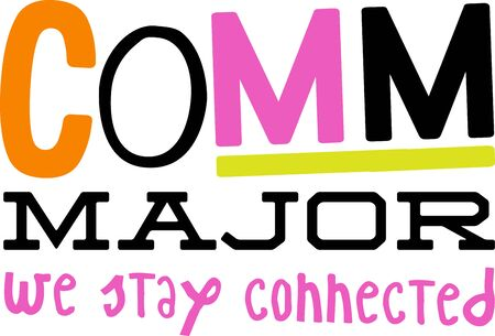 Use this humorous major design for a communication college student. 版權商用圖片 - 43642339