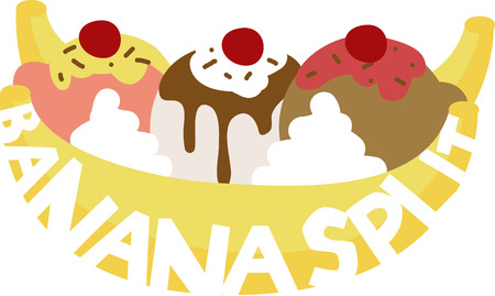 whip cream: A delicious banana split will look great in any kitchen.