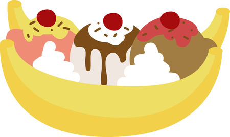 A delicious banana split will look great in any kitchen. 版權商用圖片 - 42995911