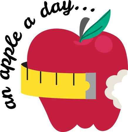 Bring some inspiration to your diet with this apple.  Add to an apron or a towel. Illustration