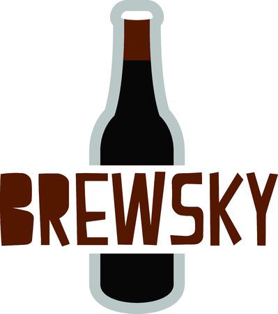 이 맥주로 하루를 열심히 짠다. 자수 패턴을 이용한 유리 디자인 일러스트