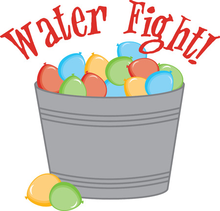 Water balloon fights are a great way to keep cool, stay outdoors and have fun in the summer!  This design will be perfect on framed embroidery, t-shirts, towels and more! Illustration