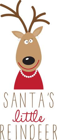 산타의 순록, 축제 스웨터 또는 아이 드레스.
