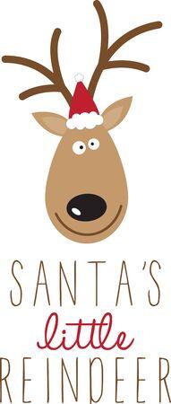 Santa  's rendier, voor een feestelijke trui of kinderkleding. Stock Illustratie