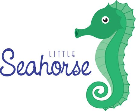 captivating: Cartoon seahorse. Saddle up for a close encounter with the seas most captivating creatures with this design on your home projects.