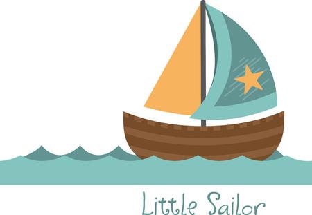 Simple design with sailboat Иллюстрация
