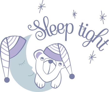 crescent moon: Cute bear with crescent moon Illustration