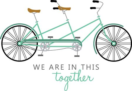 two wheeler: Simple design with tandem bicycle. Illustration