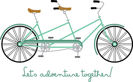 Tandem: Simple design with tandem bicycle. Illustration