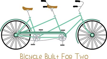 Simple design with tandem bicycle. Illustration