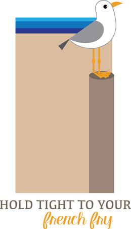 Simple design with seagull Çizim