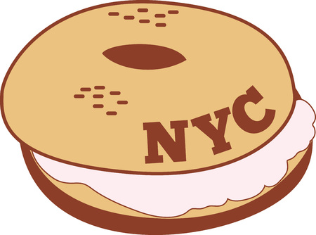 bagel: No food item is more New York than the bagel.  Get this appetizing design on kitchen linen, chef coats, apron, hats and more. Illustration