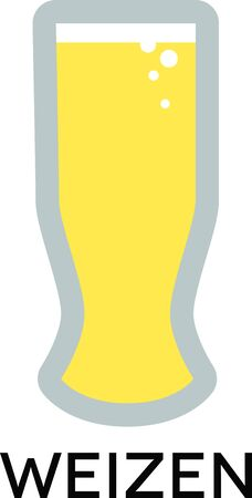 weizen: Use this Weizen Beer Glass for your wheat beer. Illustration