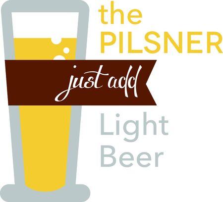 pilsner: Utilice esta Vaso de cerveza Pilsner para su dise�o de la camiseta. Vectores