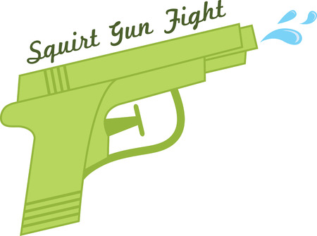 Water gun provides hours of fun in the sun on lazy summer days!  This design will be perfect on kids' bedroom decor and clothing. Illustration