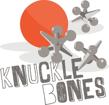 knuckle: Kids love to play with a ball and jacks. Illustration