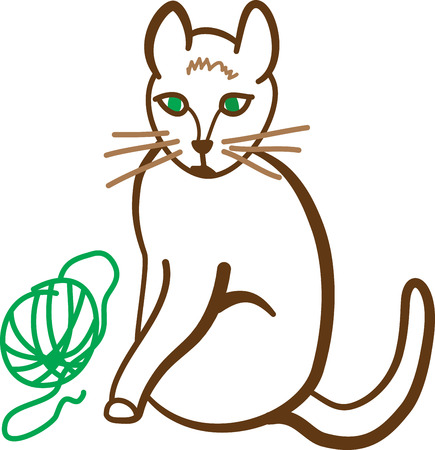 delighted: This happy kitty has found a purrfect plaything!  Be pawsitively delighted with this design on framed embroidery, t-shirts, sweatshirts, towels and more.
