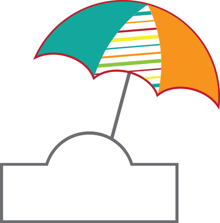 brolly: Relax in style at the beach, while also staying protected!  Bring the spirit of the sea in your indoor projects with this design. Illustration