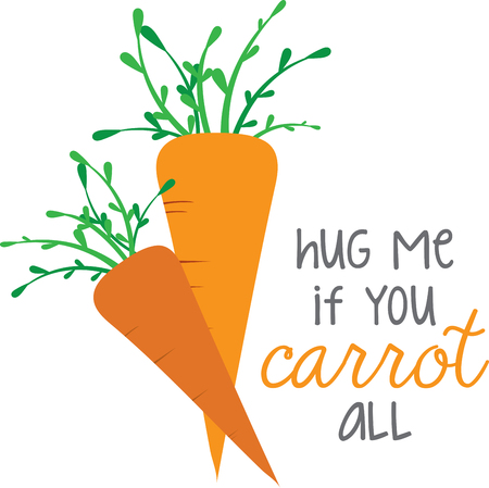 linens: These fun carrots will be a sweet touch to kitchen linens. Illustration