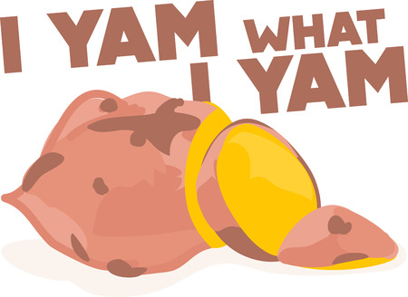 yam: Fried yams are great to eat.  Add this sliced yam to kitchen towels or aprons.