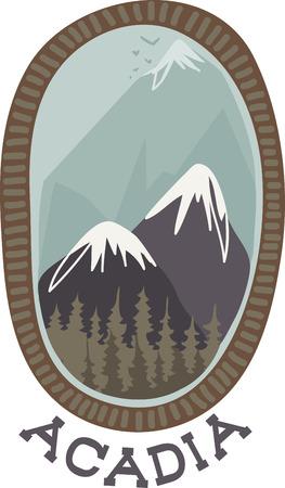 Les montagnes sont beaux endroits à visiter. Ajoutez cette conception à une chemise ou un chapeau de se souvenir de vos vacances. Banque d'images - 43333030